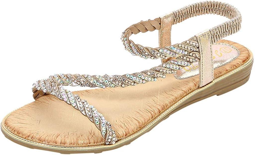 LuckyGirls Chic Sandalias Mujer Verano 2020 Fiesta Planas Sandalias de Mujer Vestir Playa Bohemia Chanclas T-Strap con Piedras Zapatos Mujer Tacon Bajo Elegantes Casual Comodas