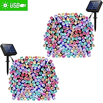 Solar Lights Outdoor 72ft 200 LED Fairy Lights, Ambiance lights for Patio, Lawn,Garden, Home, Wedding, Holiday, Christmas, Xmas Tree decoration,waterproof/Timer/USB Charge -  - patio, outdoor-lights, outdoor-decor - 61my1gXIVUL. SS400  -