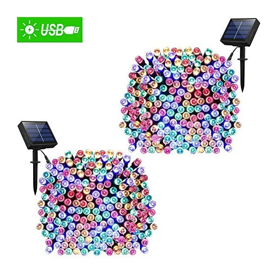 Solar Lights Outdoor 72ft 200 LED Fairy Lights, Ambiance lights for Patio, Lawn,Garden, Home, Wedding, Holiday, Christmas, Xmas Tree decoration,waterproof/Timer/USB Charge -  - patio, outdoor-lights, outdoor-decor - 61my1gXIVUL. SS570  -