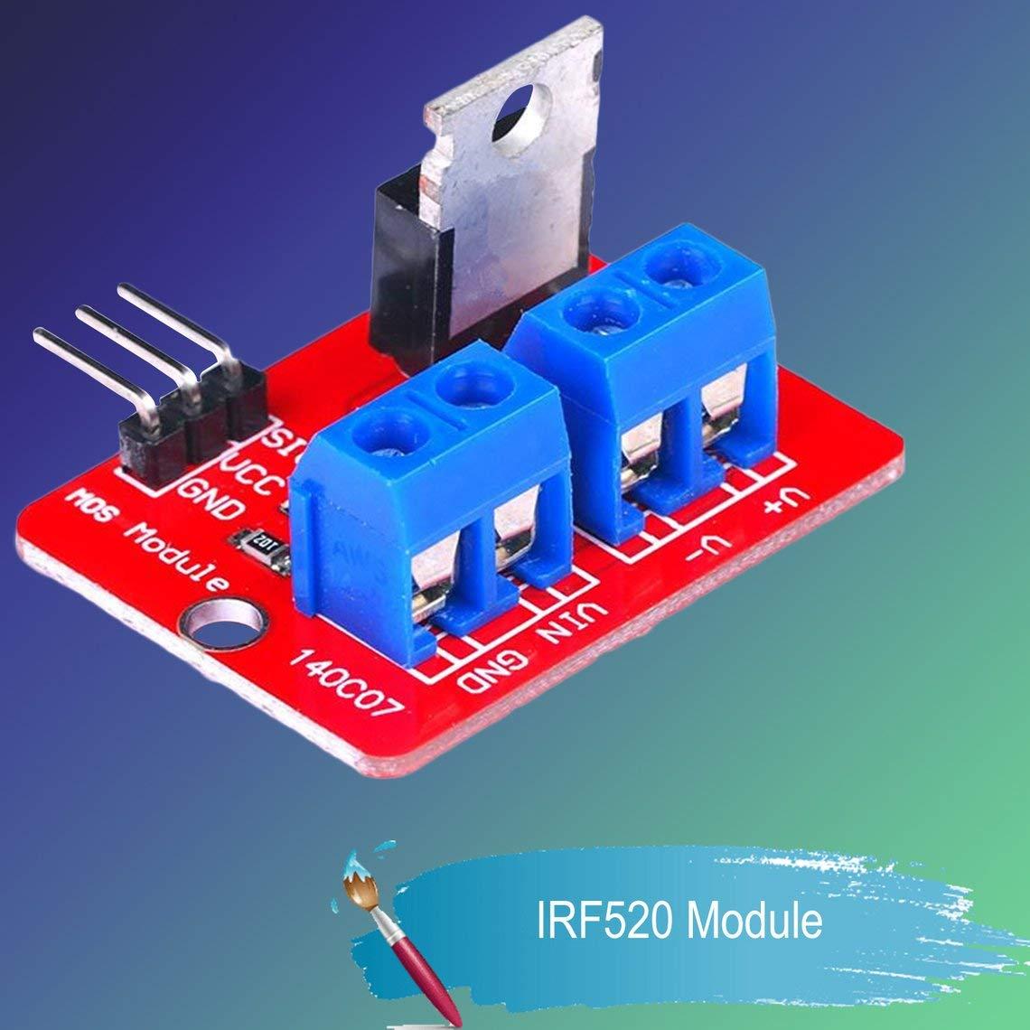 Momorain 0-24V Top Mosfet Button IRF520 Mos Driver Module Board para Arduino MCU Arm Raspberry Pi Electronic DIY Tool Dimming LED