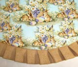 """Easter Tree Skirt, 47"""" Rabbits on Light Teal with Burlap Ruffle"""