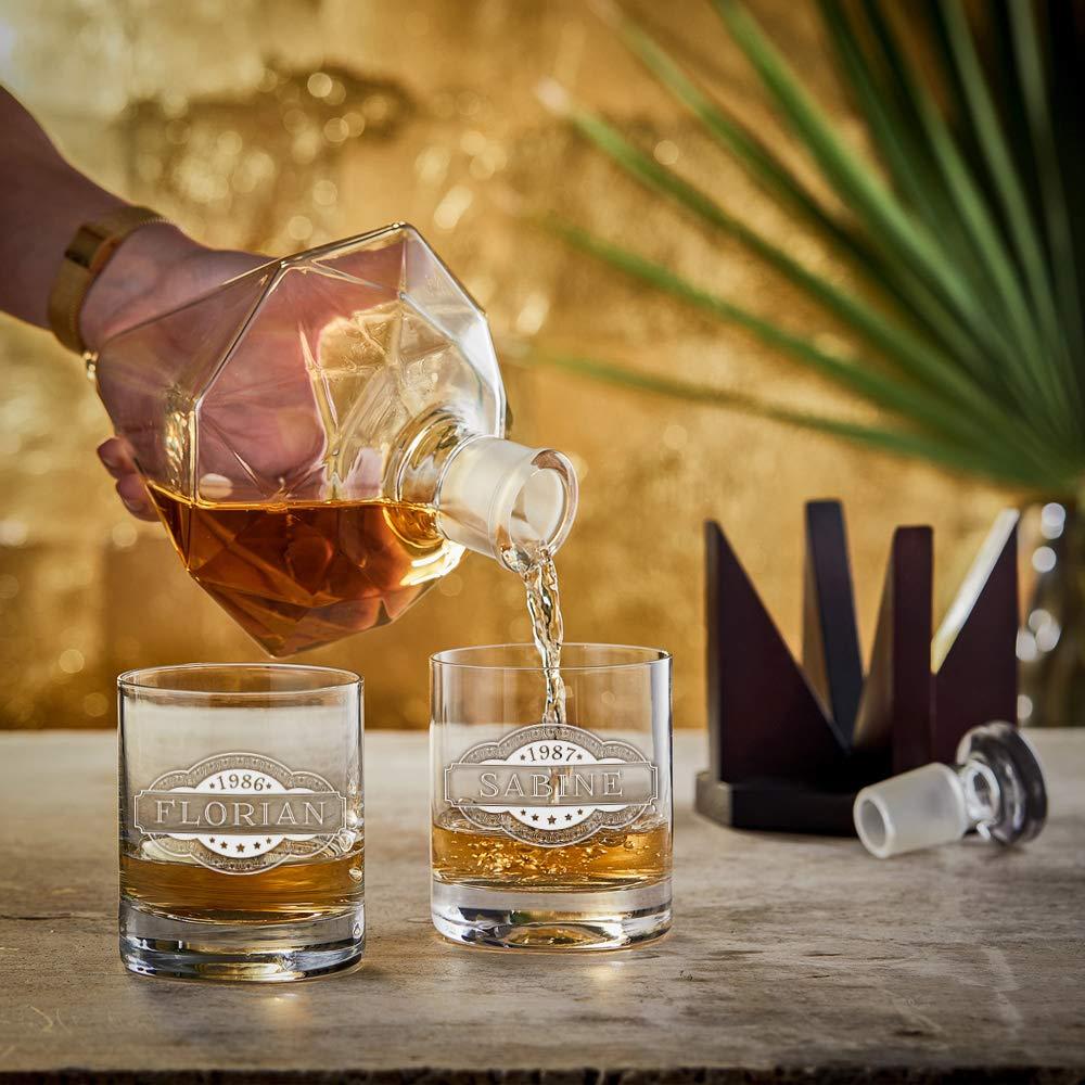 AMAVEL Carafe /à Whisky Diamant avec Bouchon et Support 1000 ML
