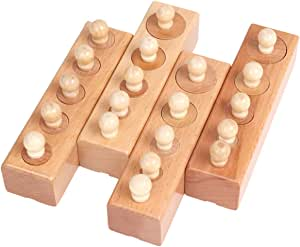 Montessori Sensorial Material Knobbed Cylinder Socket Set for Toddler Kids Early Development Educational Wooden Toy