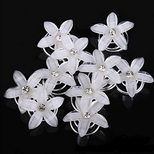 20 X Brillante Plata Diamante Perla Flor Pelo Pines ** ** Novia//Boda//Baile de graduación