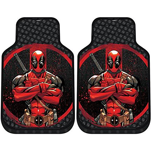 New Design 8 Pieces Marvel Comic Deadpool Car Seat Covers Floor Mats And Steering Wheel Cover