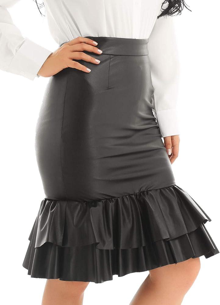 Alvivi Mujer Falda Básica Recta de Tiro Alto Mini Falda de ...