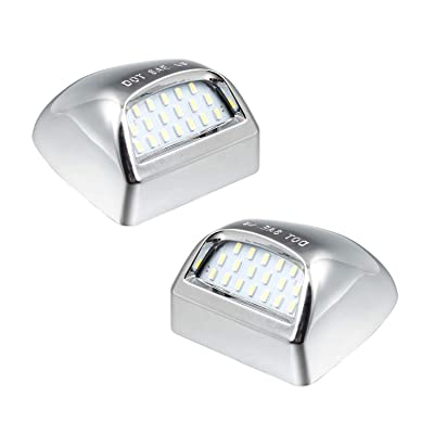 RUXIFEY Chrome LED License Plate Lights Lamp Compatible with Chevy Silverado Suburban GMC Sierra 1500 2500 3500 HD Tahoe Yukon Cadillac, 6500K White: Automotive