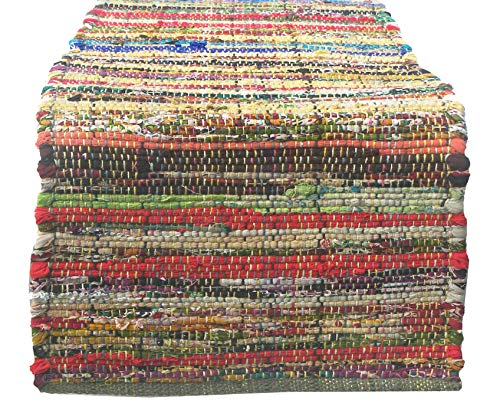 Chardin home Eco friendly Rainbow Multi Chindi Table Runner, 13'' W x 72'' L