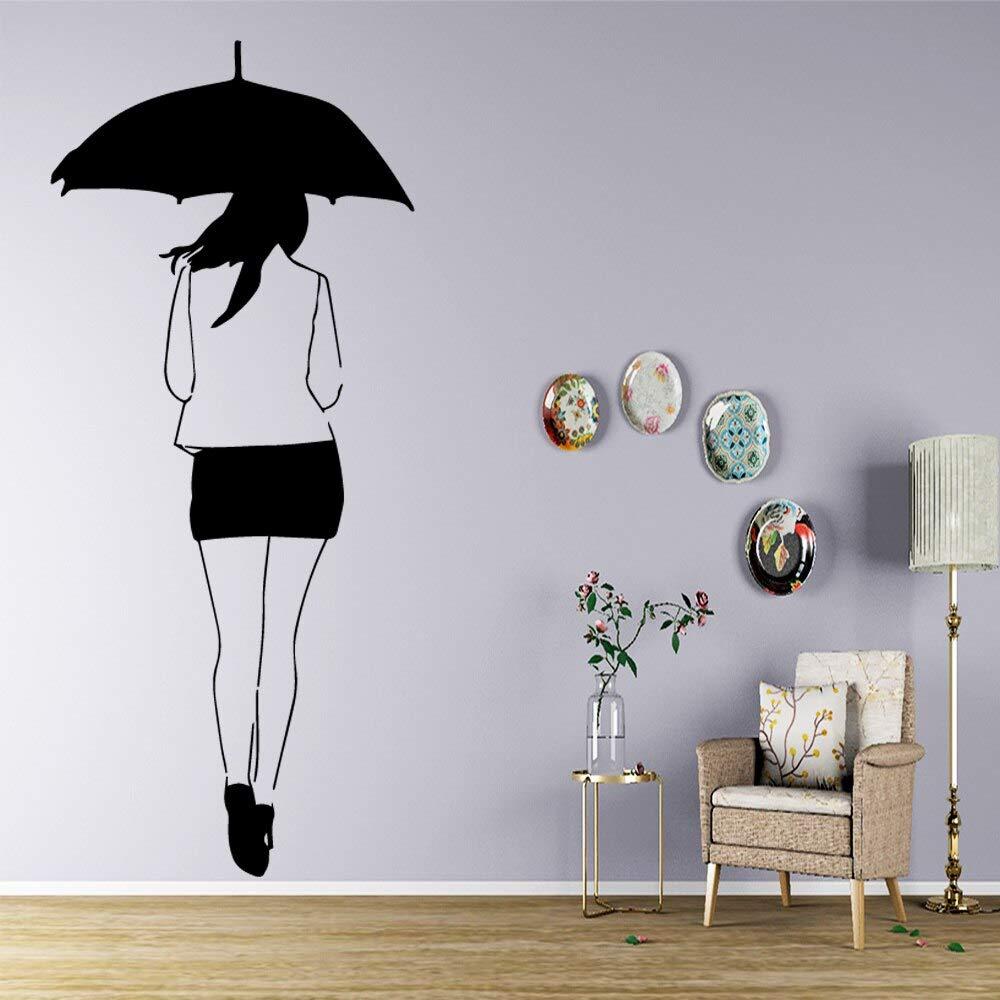 Paraguas niña Medir Altura Pegatinas De Pared Decoración Habitación Niños PVC Mural ^ D