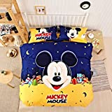 CASA Children 100% Cotton Mickey Series Mickey Duvet cover and Pillow cases and Fitted Sheet,Duvet cover set,4 Pieces,Queen