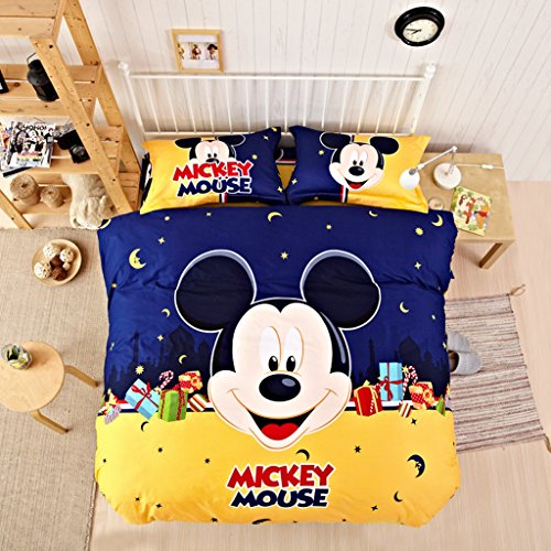 CASA Children 100% Cotton Mickey Series Mickey Duvet cover and Pillow cases and Fitted Sheet,Duvet cover set,4 Pieces,Queen by Casa