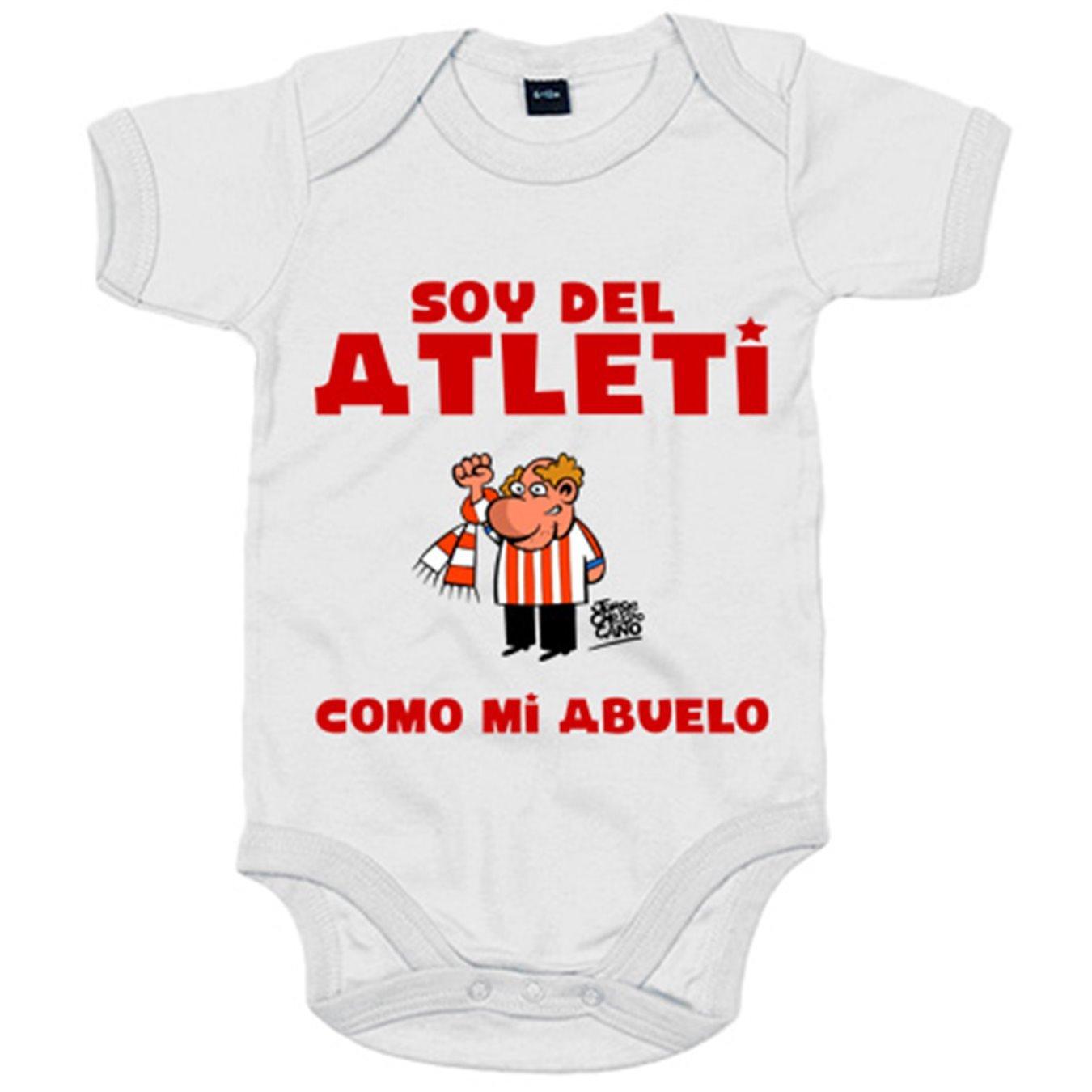 Body bebé Atlético de Madrid soy del atleti como mi abuelo - Amarillo, 6-12 meses