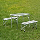 Outsunny 3′ Portable Outdoor Picnic Table with Folding Bench Seats For Sale
