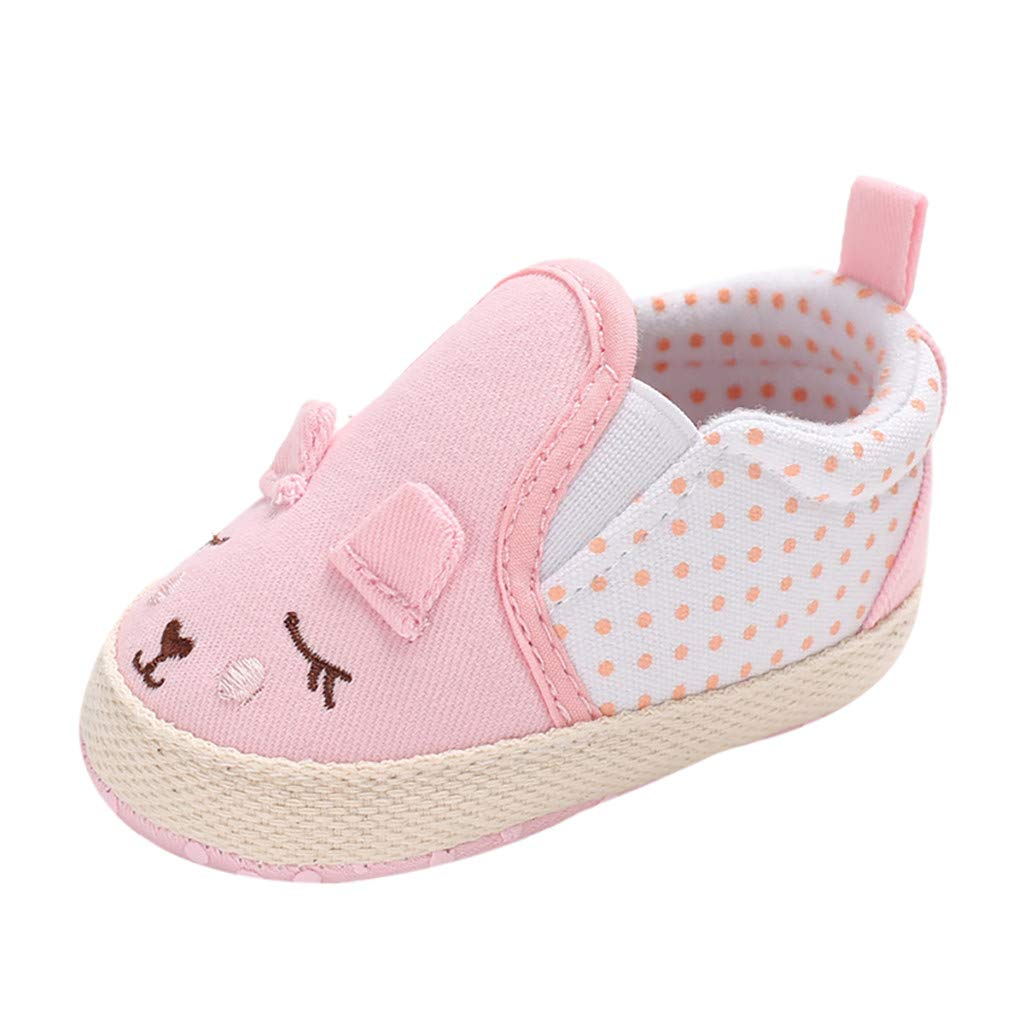 NUWFOR Infant Newborn Baby Girls Prewalker Soft Sole Cartoon Animal Single Shoes(Pink,0~6 Month)