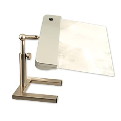 daylight24 202055-15 Table Top Full Page Magnifier Lamp, Silver Booklights: Home Improvement