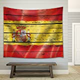 Wall26 - Flag of Spain on a Wooden Background - Fabric Tapestry, Home Decor - 68x80 inches