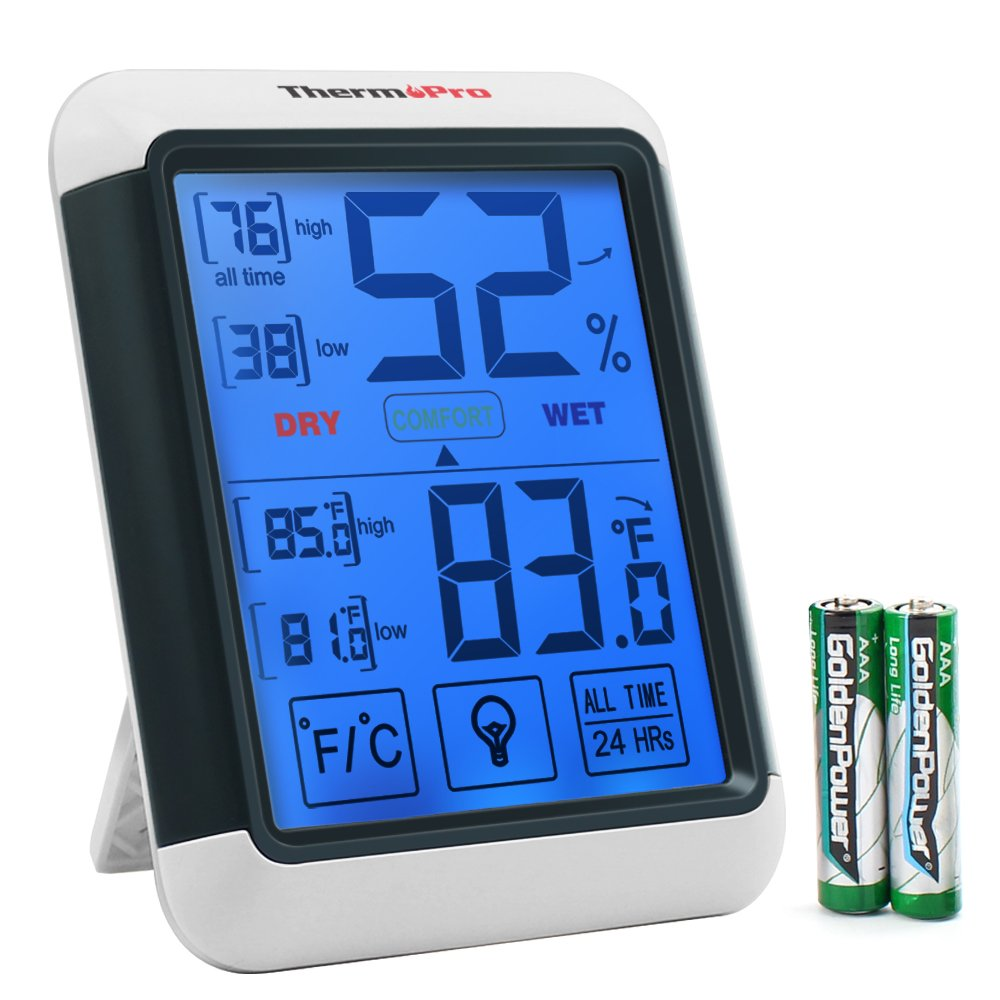 ThermoPro TP55 Digital Hygrometer Indoor Thermometer Humidity Gauge with Jumbo Touchscreen and Backlight Temperature Humidity Monitor by ThermoPro (Image #1)