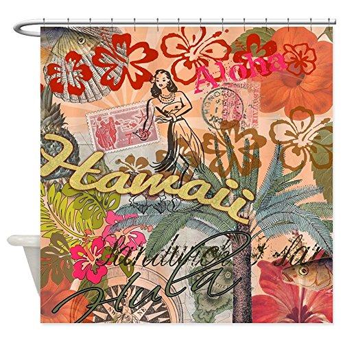 (CafePress Vintage Hawaii Travel Colorful Hawaiian Tropical S Decorative Fabric Shower Curtain (69