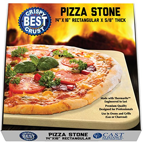 (Pizza Stone for Best Crispy Crust Pizza, Only Stoneware with Thermarite (Engineered Tuff Cordierite). Durable, Certified Safe, Ovens & Grills 14 x 16 Rectangular, Bonus Recipe Ebook & Free Scraper)