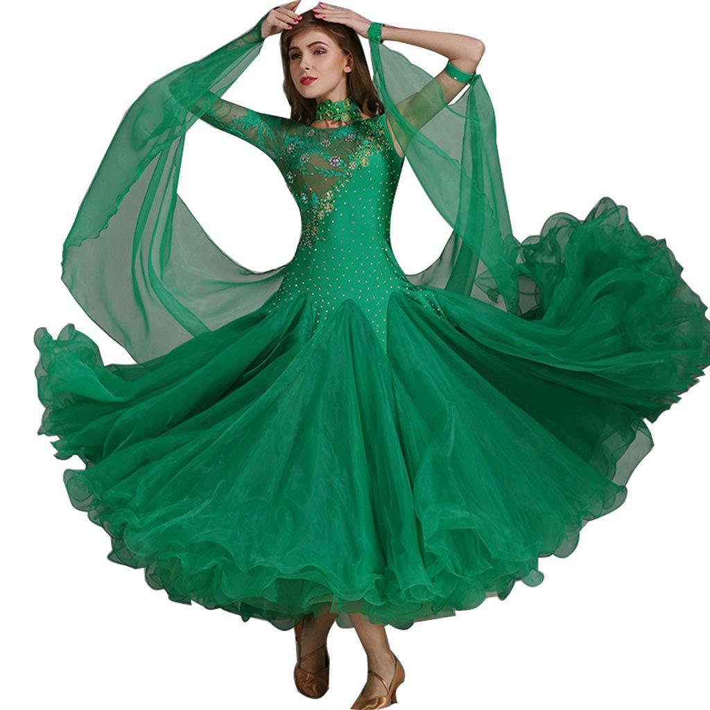vert XX-grand RJ Robes Jupe Moderne de Couture de Couture de Dentelle Adulte de Madame Printemps Eté, Robe de Danse Nationale Standard (Couleur   Lake bleu, Taille   XXL)
