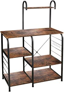 "VANSPACE Indusrial Kitchen Baker's Rack Utility Storage Shelf Microwave Stand 4-Tier + 3-Tier Kitchen Storage Cart Table for Spice Rack Organizer Workstation with 5 Hooks - 35.5"" Vintage Brown"