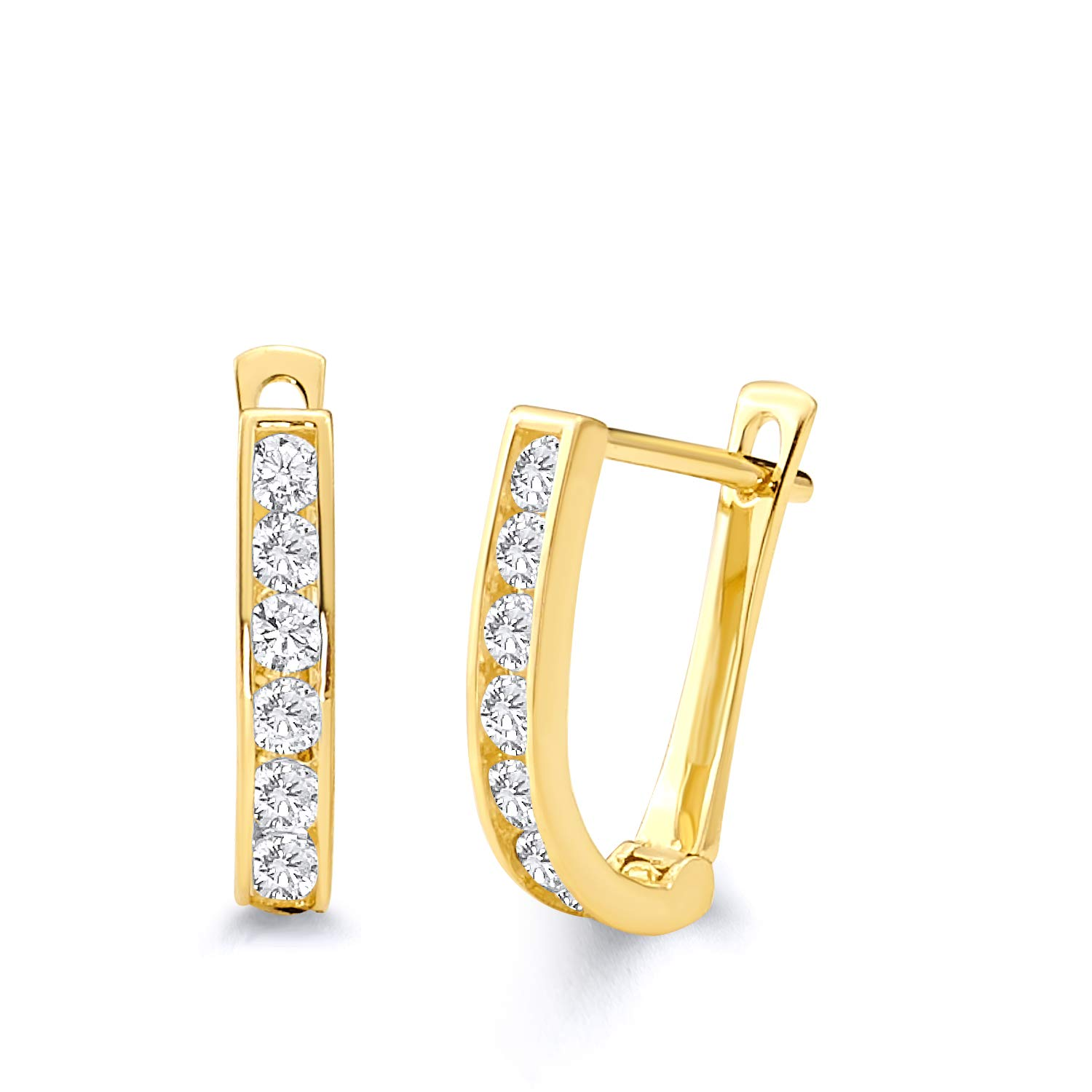 13 x 10 mm 14k Yellow Gold 2mm Thickness CZ Channel-set Huggies Earrings