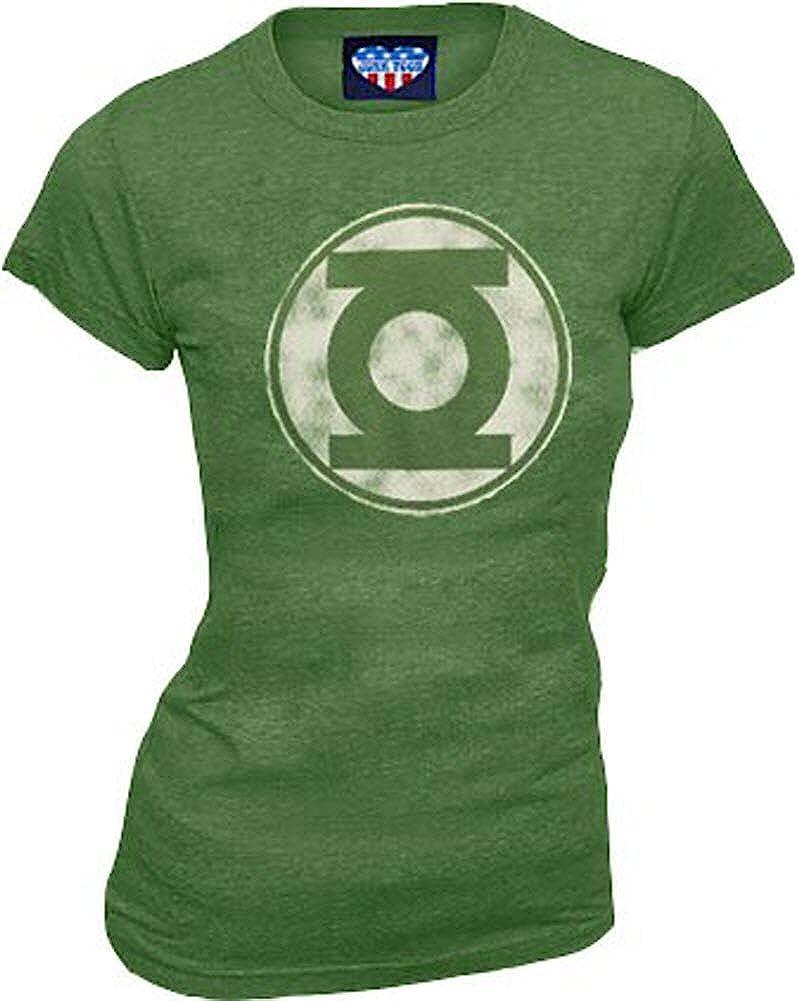 Junk Food Green Lantern Kelly Green Distressed Logo Juniors T-shirt Tee