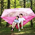Hulorry Double Outdoor Hammock Portable Hammock Chair Garden Beach Backyard with Mosquito Net Hanging Swing for Hiking,Travel,Camping Lightweight Parachute by Hulorry