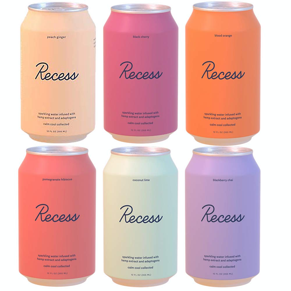 Recess Infused Sparkling Water Variety Pack, Coconut Lime, Blood Orange, Peach Ginger, Blackberry Chai, Black Cherry, Pomegranate Hibiscus 12 Oz (Pack of 6, Total of 72 Oz)