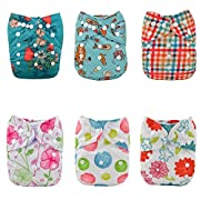 Alva Baby Cloth Diapers Girls Reuseable Washable Pocket One Size 6PCS + 12 Inserts 6DM15