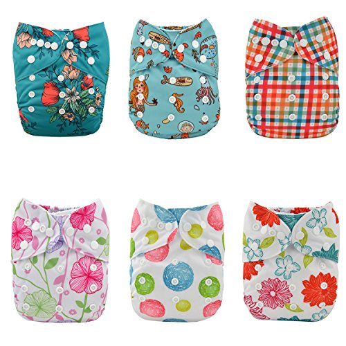 ALVABABY Cloth Diapers Girls Reuseable Washable Pocket One Size 6PCS + 12 Inserts 6DM15