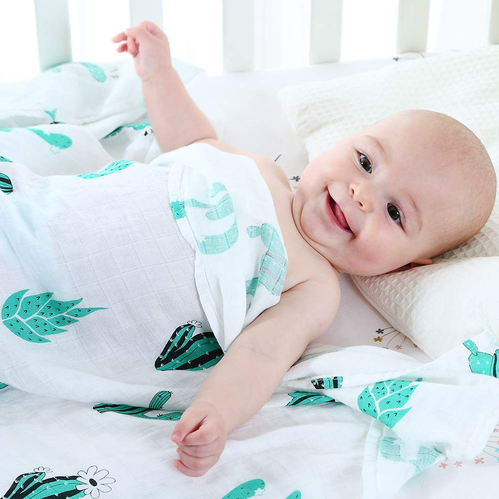 LifeTree Bamboo Cotton Muslin Cloths Girls Large Baby Swaddle Blanket Cactus Print Muslin Squares Perfect Baby Shower Gifts