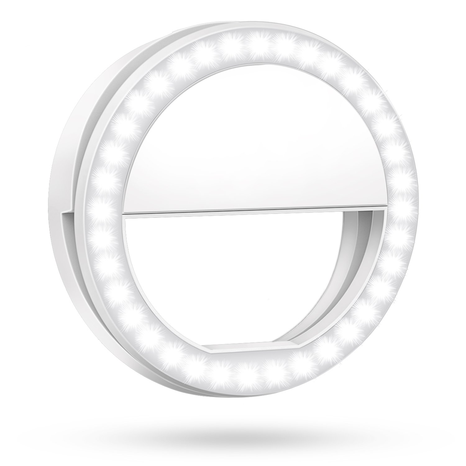 Meifigno Selfie Phone Camera Ring Light with [Rechargable] 36 LED Light, 3-Level Adjustable Brightness On-Camera Video Lights Clips On Night Makeup Light for iPhone Sumsung Galaxy Photography (White)