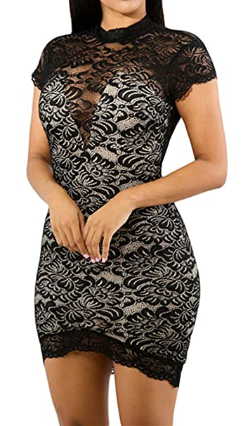 b00b32b40a ENLACHIC Women Sexy Lace V Neck Keyhole Back Bodycon Mini Party Dress at Amazon  Women s Clothing store