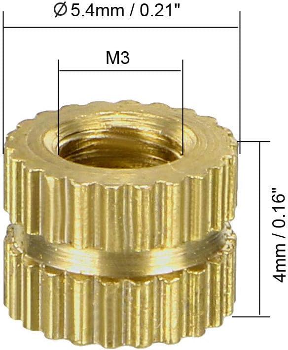 sourcing map 80 St/ück Einschraubmuttern M3 x 3 mm Au/ßendurchmesser x 5 mm Messing L