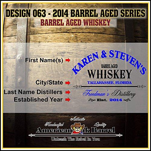 Personalized American Oak Whiskey Aging Barrel (063) – Custom Engraved Barrel From Skeeter's Reserve Outlaw Gear – MADE BY American Oak Barrel – (Natural Oak, Black Hoops, 2 Liter)