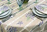 Indoor Outdoor Water Resistant Tablecloth Lavender in Grey- 72 to 130 inches - Rectangle or Oval - You choose the Size and the Shape - Provencal Cotton Coated Fabric -