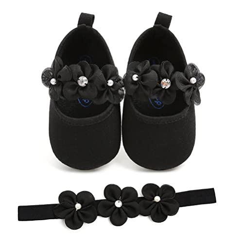 913ed8110060 Baby Girls Shoes with Headband Gift Set Toddler Girl Lovely Spring Flower  Soft Sole Anti-