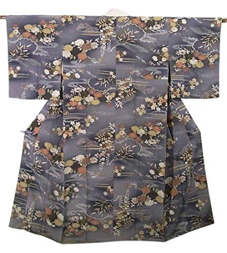 アンティーク 着物 襦袢 袷 正絹 雲取りや波に四季の花々 裄60.5cm 身丈131cm