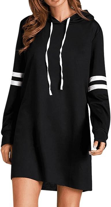 ღ YGbuy Suéter De Manga Larga con Capucha Negra para Mujer Falda ...