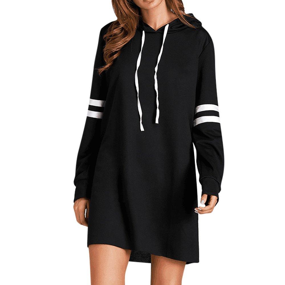 V/êtements LILICAT La mode des femmes nouvelles manches longues coll/ège couture sweat /à capuche /à manches longues pull robe S-XL Black, L