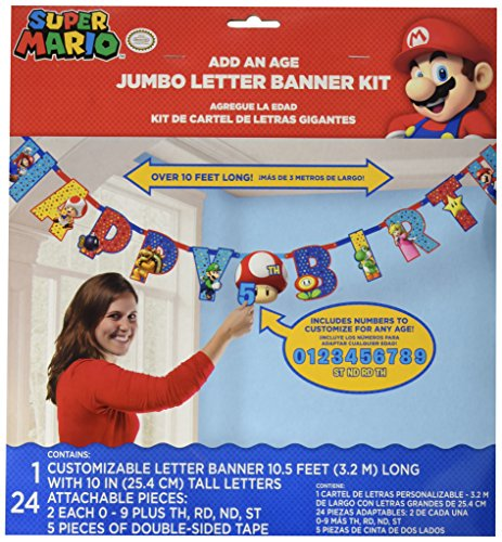 Amscan Super Mario Brothers Jumbo Add-an-Age Happy Birthday