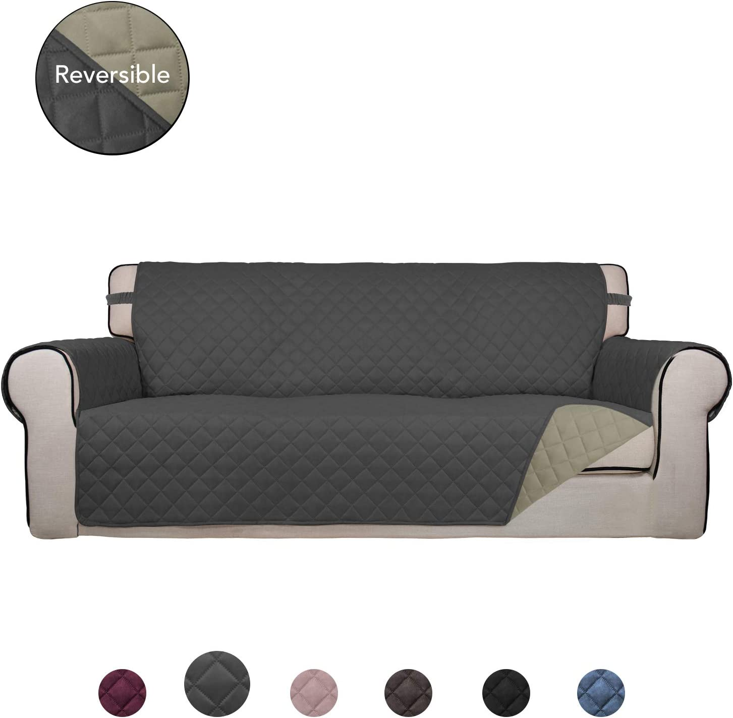 PureFit Reversible Quilted Sofa Cover, Water Resistant Slipcover Furniture Protector, Washable Couch Cover with Non Slip Foam and Elastic Straps for Kids, Pets (Oversized Sofa, Dark Gray/Beige)