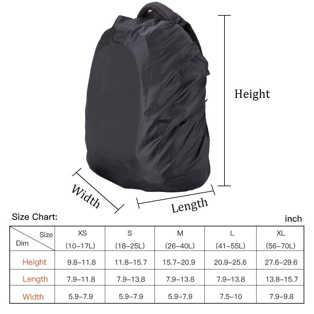2-Pack, XS:10-17L Favson Nylon Waterproof Backpack Rain Cover Rainproof Cover with 1 Storage Bag for Hiking Camping Traveling Outdoor Activities