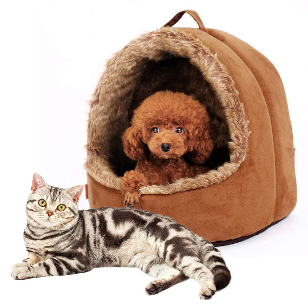 BrownS MiaoMiao Luxury High-End Cat Dog Bed Pet House Half-Open Pet Room Autumn And Winter Warm Yurt Kennel Non-Slip Pet Nest,Browns