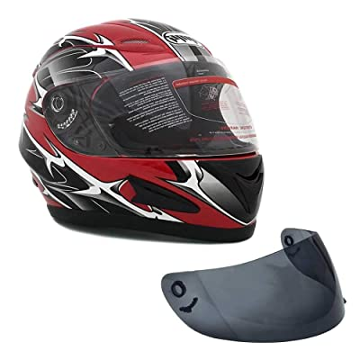 MMG 118S Motorcycle Full Face Helmet DOT Street Legal +2 Visors Comes with Clear Shield and Free Smoked Shield – Spikes Red: Sports & Outdoors