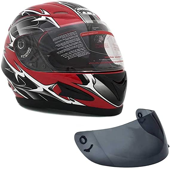 MMG 118S Motorcycle Full Face Helmet DOT Street Legal +2 Visors Comes with Clear Shield and Free Smoked Shield – Spikes Red