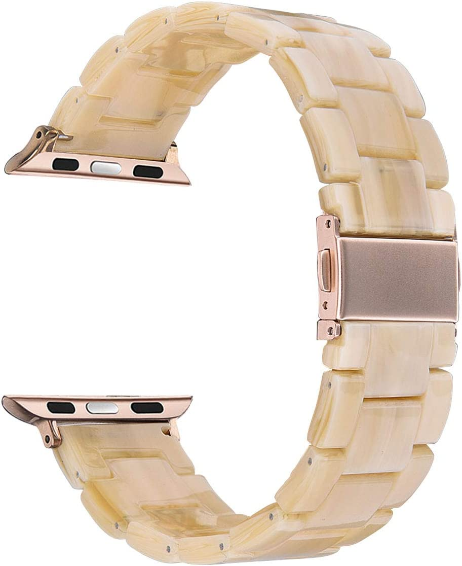 V-MORO Resin Band Compatible with Apple Watch Band 42mm 44mm iWatch Series 4/3/2/1 with Stainless Steel Buckle Copper Replacement Wristband Strap Women Men (Light Cream, 42mm)