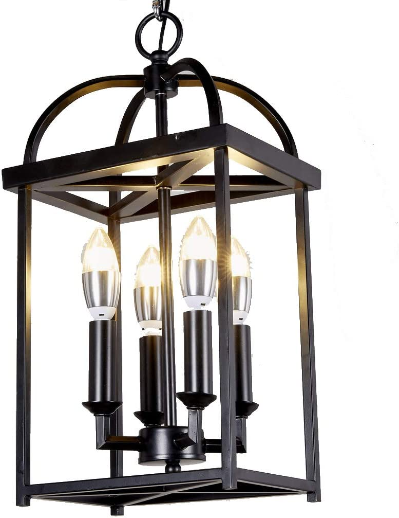 New Legend Lighting Antique Black Finish 4-Light Hanging Lantern Iron Frame Pedant Chandelier