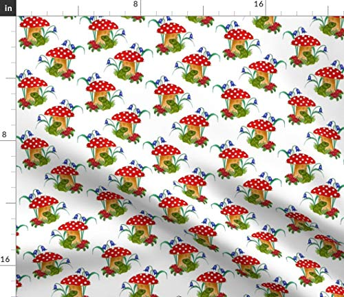 Toad stools Fabric - Toad Stools Frogs Floral Watercolor Mushroom Frog Toadstool Mushroom Bluebell Flowers by Linsart Printed on Petal Signature Cotton Fabric by The -
